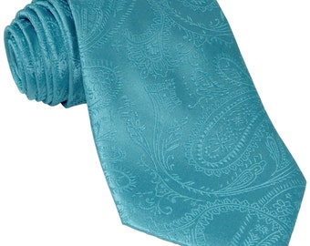 Men's Paisley Turquoise Regular Necktie, for Formal Occasions