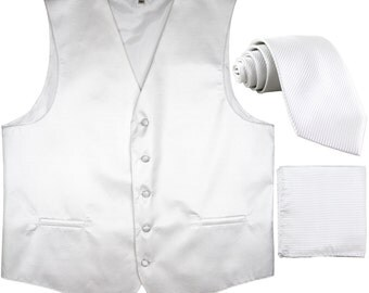 Men's Horizontal Striped White Polyester Tuxedo Vest with Self Tie Necktie and Handkerchief, for Formal Occasions (2010)