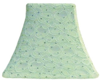 Mint Green Sparkle SLIP COVER for your existing lampshade - STRETCH to fit perfectly