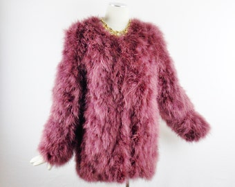 Vintage FEATHERS MARABOU DESIGNER Long Jacket Rare Maroon Color Size Small To Med Gorgeous Fall Fashion