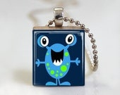 Monster Alien Characters Boy Girl - Scrabble Tile Pendant - Free Ball Chain Necklace or Key Ring