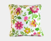 Magenta and green floral decorative pillow cushion cover. One cover for 18x18 pillow insert.  Waverly fabric shabby chic cottage decor.