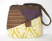 Medium Mixed Pattern Purse Purple and Goldenrod