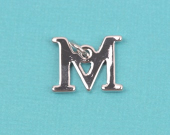 "4 MU Letter M Silver Plated Charms, Greek Letter . Sorority Sister .  Silver Plated Pendant, 3/4"" tall, includes jump ring, chs2211"