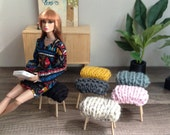 1/6 Scale Chunky Knit Stool for Dioramas or Fashion Doll House