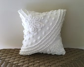 white chenille pillow cover 12 X 12 SHOOTING STAR white cushion cover, shabby style sham, cottage chic porch pillow, neutral textured cover