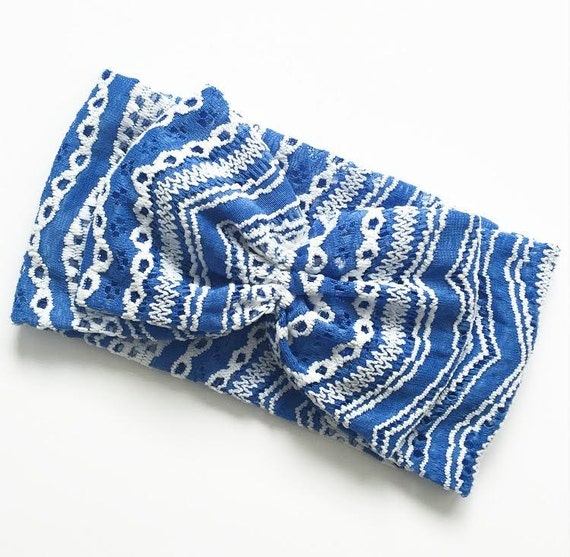 New GREEK ISLES BLUE Oversized Turban with Optional Bow Detail - All Ages - stretch fabric head wrap/turban/headband / adult / winter/ fall