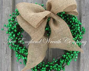 St Patrick's Day Wreath, Irish Wreath, Irish Cottage Wreath, Heart Wreath, Berry Wreath, Irish Country Décor, Irish Wedding Wreath