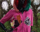 pink tropical gangster fairy rave zebra fur disco psychedelic hoodie uk size 12 14 approx