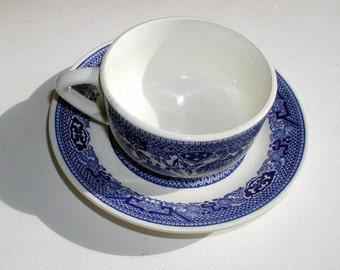 Vintage Blue Willow Cup and Saucer 1960's Oriental Pattern Dinnerware