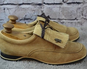 vintage womens Hush Puppies golf shoes - tan suede golf shoes - metal cleats golf - size 10 USA