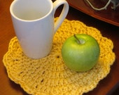 2 Mug Rugs Snack Mat Extra Large Coasters - Bright Yellow Double Strand Crochet - Set of Two - Item 4618