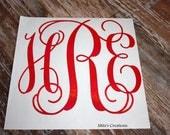 "Large Vinyl Monogram Decal - 12"" by 12"" - Vine Monogram - Pick Your Colors"