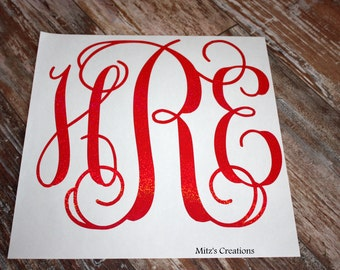 "Large Vinyl Monogram Decal - 12"" by 12"" - Vine Monogram - Pick Your Colors"