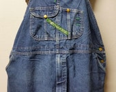 "Vintage Key Imperial Blue Bib  Overalls  - up to 52"" waist"