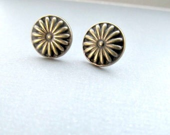 Bronze Orange Sliced Stud Earrings