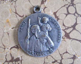 Vintage St Christopher Religious Medal