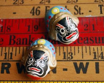 Miniature Asian Masks, Hand Painted Asian Mask Heads