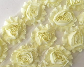 "Light Yellow  Shabby Rose Trim 2.5"" Shabby Flowers Shabby Chiffon Flowers Solid Shabby Trim Wholesale Rosette trim 6cm 1 yard -  #808A"