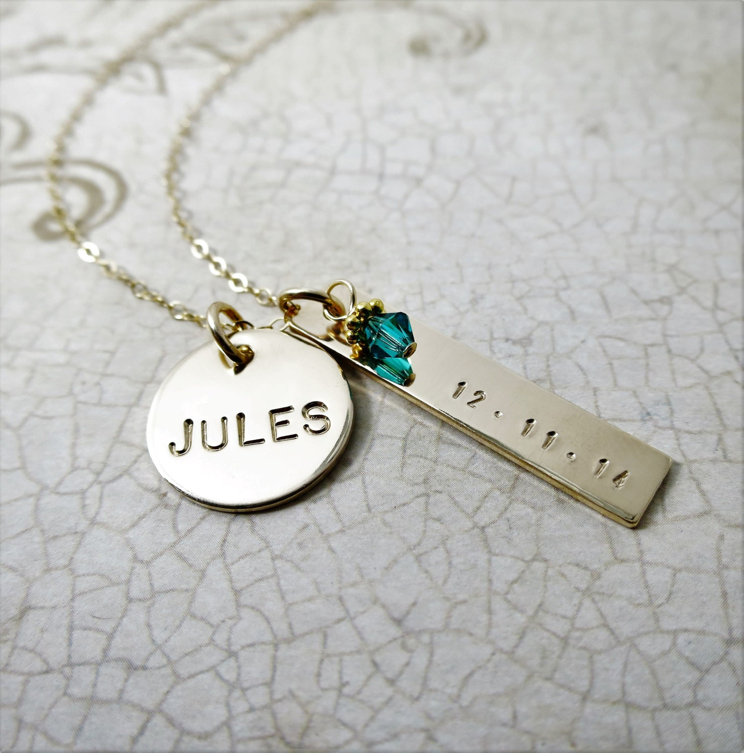 Name Necklace Baby S Birth Date Kid S Birth Date