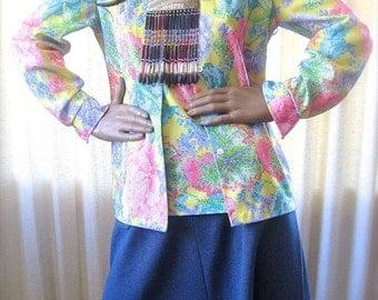 on sale Vintage Blouse, Cross Stitch Print, 60s Shirt, Tank Top, Flowered Set ,Polyester Vintage, Button Down