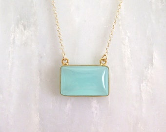 Aqua Chalcedony Bar Necklace - Bar Necklace - Gold Necklace - Gemstone Necklace - Pendant NEcklace