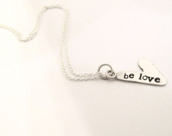 Recycled Sterling Stamped Heart Necklace