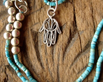 Silver Moroccan Hand with Turkish turquoise beads necklace pendant