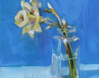 Yellow Daffodil, Square Glass Jar on Blue