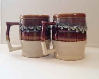 Vintage barrel mugs. Over sized barrel mugs.  Set of 2 vintage barrel mugs.  Vintage mugs