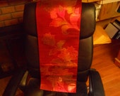 RESERVED DanaCOPPER EMBOSSED   Japanese Fukuro  Obi  with full back   Floral vine pattern  Coper Oranfe, Silver  Shading 164 x 12 inches