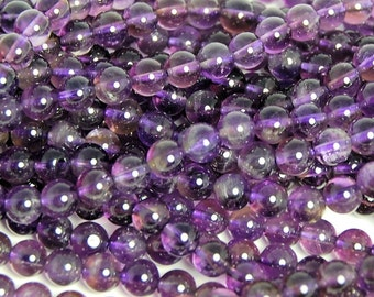 Amethyst Beads, 6mm AB+ natural round beads  -15.5 inch strand