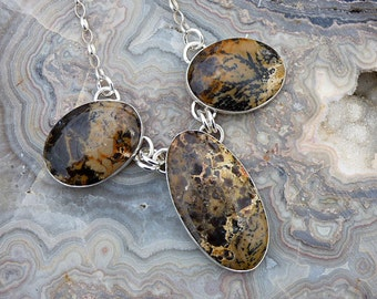 Dendritic Agate Multi Stone Sterling Silver Necklace