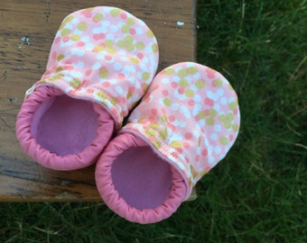 Baby Shoes for Girls - Pink and White with Metallic Gold - Custom Sizes 0-24 months 2T-4T