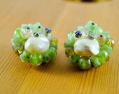 ON SALE Clip-on Earrings, Green and White beads with Pearls Costume Jewelry, Vintage Jewelry