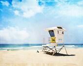 "California Lifeguard Stand Photography - Beach Photo Print, Blue Coastal Photograph, Seaside Seashore Wall Art Decor, ""California"""