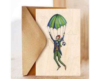 "Wood card ""Parachute"", For Him, Good Luck , Green Parachute, Happy Birthday Card"