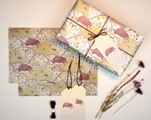 Hedgehog and Pinecones Gift Wrapping Set