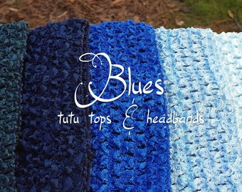 "Blue shades in 16'' x 14'', 12'', 10"", 9"" / 8'' , 6"", 2.75"", 1.5"", 1'' crochet tube tops headbands ballet craft tutu top royal navy pastel"