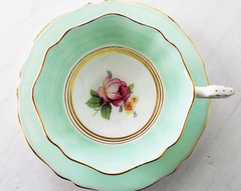 Paragon Teacup and Saucer / Mint Green with Pink Rose / Vintage Tea Cup