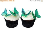 CHRISTMAS in JULY SALE Edible Cake Toppers - Edible Butterflies in 24 Green - Cupcake Toppers, Butterfly Cake Decorations, Wedding Cake Topp