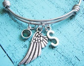 angel wing bracelet, personalized bracelet, memorial bracelet, guardian angel bracelet, memorial gift, sympathy gift, angel wing jewelry