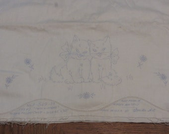 Vintage Twin Kittens Stamped Pillowcase White Cotton Pillow Tubing Cats Ready To Embroider