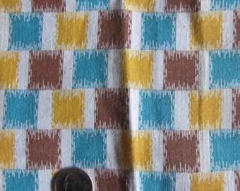 Vintage Feedsack Fabric Checked Print Feed Sack Yellow Brown Blue 29 x 32