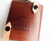 Brown Leather Hipster flask with triple X skull and crossbones