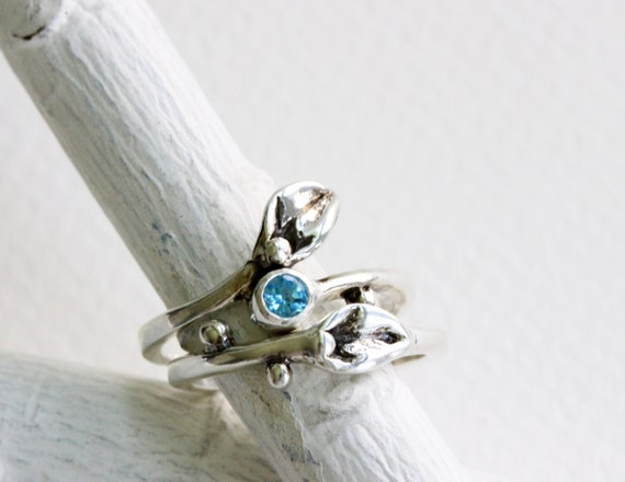 Leaf Ring,Set of 2 Rings- Small Leaf Silver Ring with Blue Topaz,Stackable Rings