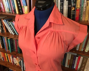 Salmon Pink 1980s does 1940s Blouse--S