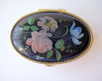 Porcelain Painted Pill Box/Trinket Box Pink Flowers on Blue