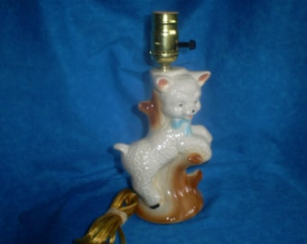 ON SALE Vintage Baby Lamb Lamp. Was 20.00.