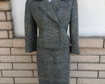 Vintage 50s Tweed Skirt Suit w/Matching Coat . Tweed Swing Coat . 1950s Coat Size Small
